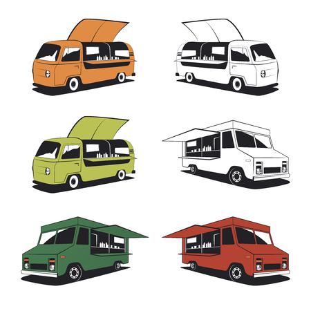 negocios comida: Conjunto de ilustraciones de camiones de alimentos retro y gráficos de la comida de la calle. Vectores