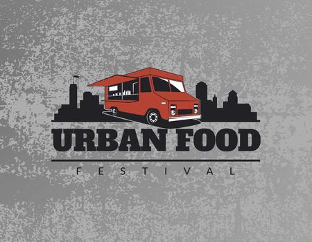 vendedor: Alimentos camión emblema del grunge fondo gris. Urbano, ilustraciones de comida callejeros y gráficos.
