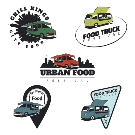 Set of food truck emblems, icons and badges. Urban, street food illustrations and graphics.