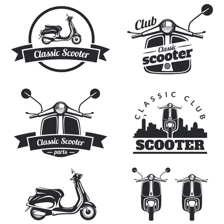 Set of classic scooter emblems, icons and badges. Urban, street scooter illustrations and graphics. Isolated scooter front and side view. Stock Illustratie