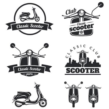 Zestaw klasycznych skuterów emblematy, ikon i odznaki. Miejskie, ilustracje ulicy skuterów i grafiki. Izolowane skuter przodu iz boku. Ilustracje wektorowe