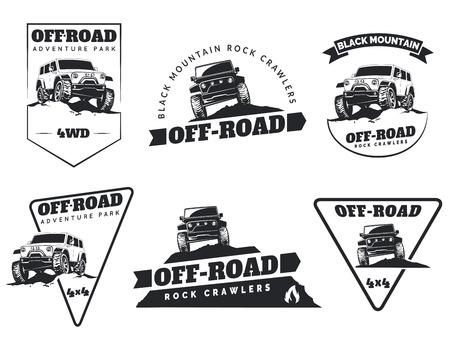 route: Ensemble de classiques hors route voiture suv emblèmes, insignes et des icônes. Rock Crawler voiture, hors route suv aventure et éléments de conception de club de voiture. Isolé front de SUV et vue de côté.
