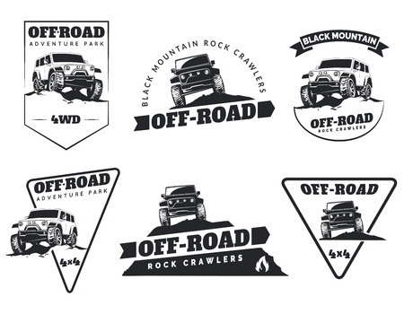 offroad car: Set of classic off-road suv car emblems, badges and icons. Rock crawler car, off-road suv adventure and car club design elements. Isolated suv front and side view.