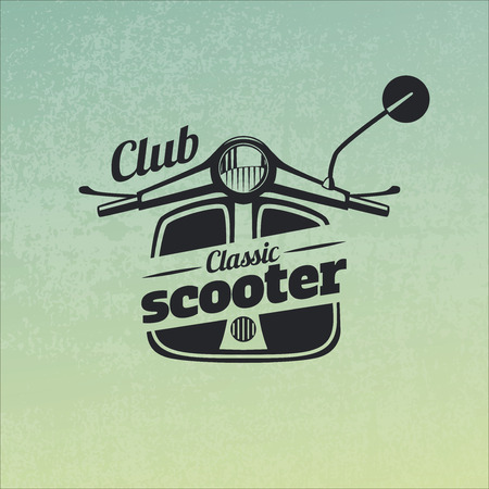 motor scooter: Classic scooter emblem on grunge blue yellow background.