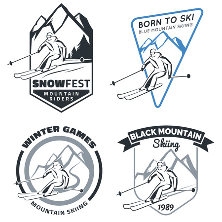 Set of winter mountain ski emblems, badges and icons. Vacation travel extreme sports skiing labels and design elements. Silhouette of skier. Vector illustration. Иллюстрация