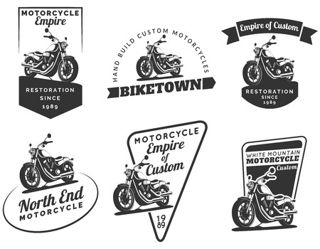 Set of classic motorcycle emblems, badges and icons. Motorcycle repair, service and motorcycle club design elements. Isolated vintage motorcycle side view. Vector.