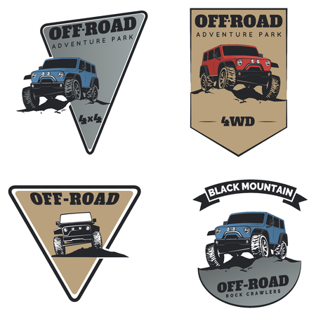 offroad: Set of classic off-road suv car emblems, badges and icons. Rock crawler car, off-road suv adventure and car club design elements. Isolated suv front and side view.