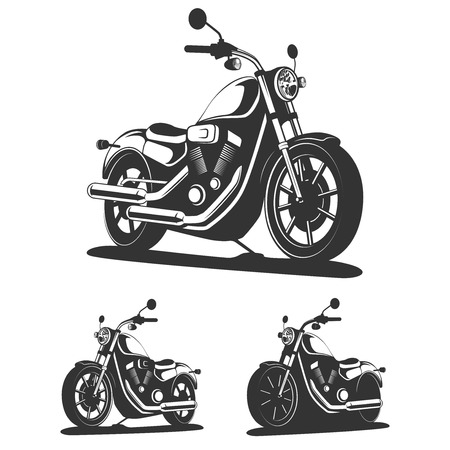 motor scooter: Set of classic motorcycle in vector. Isolated vintage motorcycle side view.