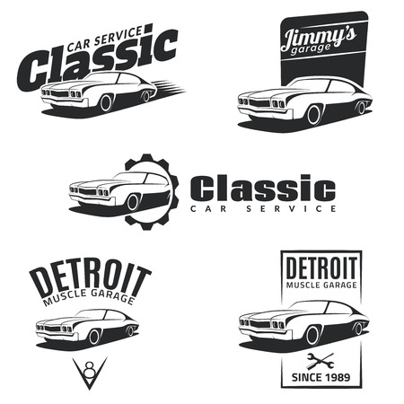 workshop: Set of classic muscle car emblems, badges and icons. Service car repair, car restoration and car club design elements.