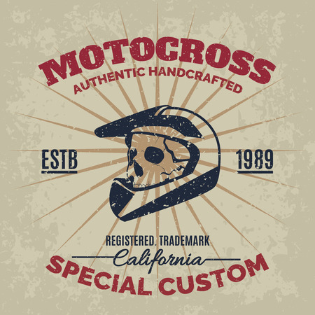 Vintage motocross helmet with skull for printing with grunge texture. Vector old school race poster. T-shirt printing design.