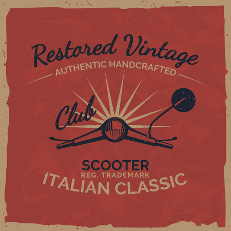 Vintage italian scooter tee print design with grunge texture.Vector old school scooter club poster. T-shirt design.