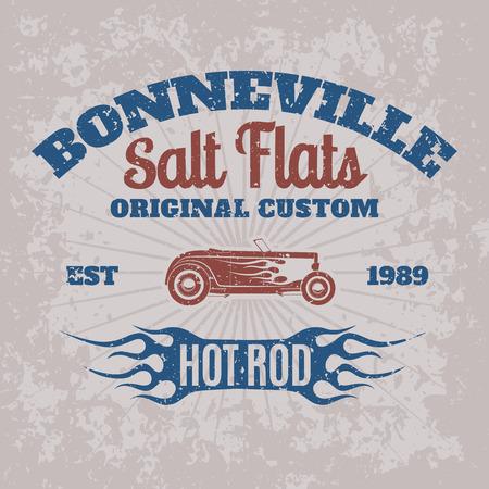 calor: Coche de la barra caliente cosecha americana para imprimir con el dise�o del grunge Textura de la vieja escuela raza Bonneville poster.T-camisa de la impresi�n.