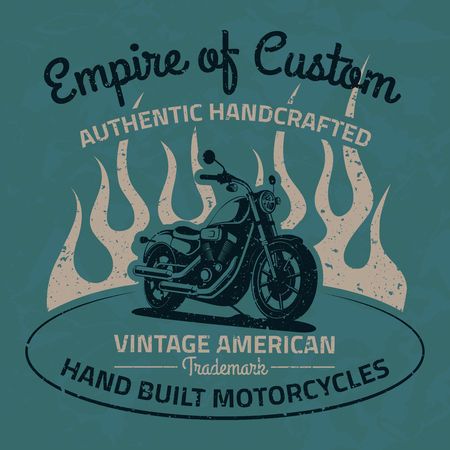 Vintage motorcycle for printing with grunge texture. Old school race poster. T-shirt chopper design. Çizim