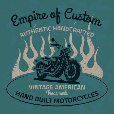motor race: Vintage motorfiets voor afdrukken met grunge textuur. Old school ras poster. T-shirt chopper design.