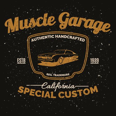 vehiculo antiguo: coches de �poca m�sculo americano para la impresi�n con el dise�o de carreras de coches grunge Textura de la vieja escuela poster.T de la manga.
