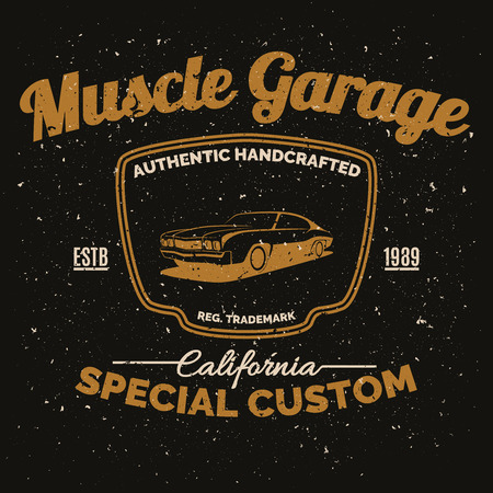 hot rod: Vintage american muscle car for printing with grunge texture.Vector old school car race poster.T-shirt design.