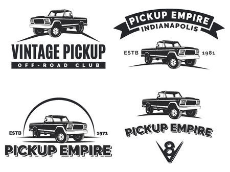 4x4: Set of suv pickup car emblems, labels and . Offroad extreme pickup design elements, 4x4 vehicle illustration.