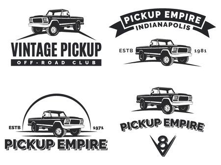 Set SUV Pickup Auto Embleme, Etiketten und. Offroad extreme Pickup-Design-Elemente, 4x4 Fahrzeug Illustration. Vektorgrafik