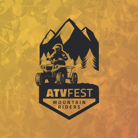 ATV emblem on grunge yellow background. All-terrain vehicle off-road design elements. Иллюстрация