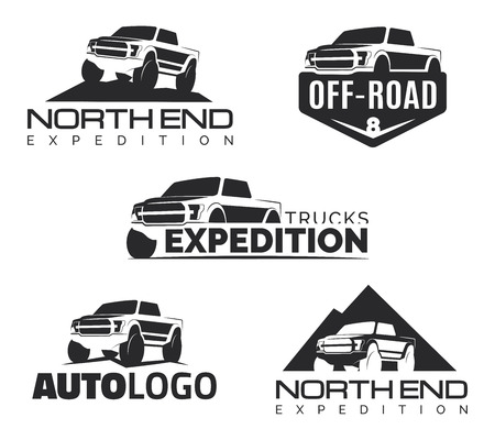 cami�n de reparto: Conjunto de modernos de recogida SUV emblemas, iconos. Offroad elementos de dise�o, ilustraci�n de recogida del veh�culo. plantilla SUV coche.