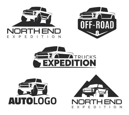 Set van moderne SUV pickup emblemen, pictogrammen. Offroad pickup design elementen, auto illustratie. Suv car template.