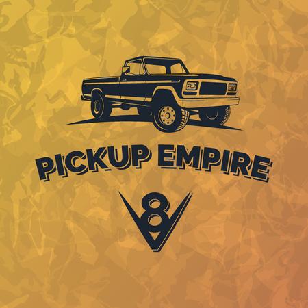 cami�n de reparto: Suv coche de recogida emblema del grunge fondo amarillo. Offroad elementos de dise�o, ilustraci�n de recogida de veh�culos 4x4.