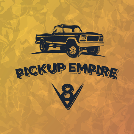 Suv pickup car emblem on grunge yellow background. Offroad pickup design elements, 4x4 vehicle illustration. Stock Illustratie