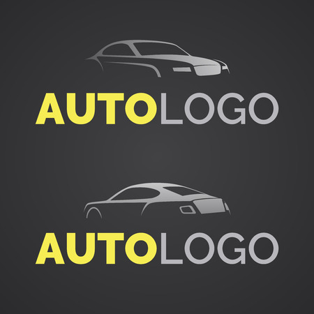 Modelo de la insignia del coche moderno abstracto. Vista frontal y vista posterior de la silueta de un coche deportivo. reparación de automóviles y logotipo de la empresa de servicios.