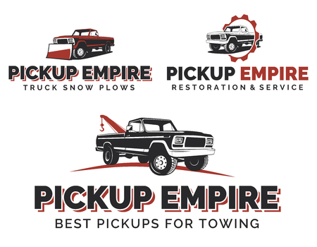 Set of retro pickup trucks , emblems and icons. Car service design. Tow and wrecker truck. Pickup with snow plow.