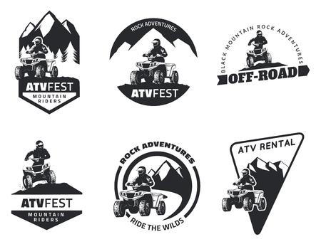 aventura: Conjunto de emblemas, insignias y ATV iconos. vehículos todo terreno fuera de carretera elementos de diseño.