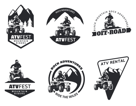 Set of ATV emblems, badges and icons. All-terrain vehicle off-road design elements. Illustration