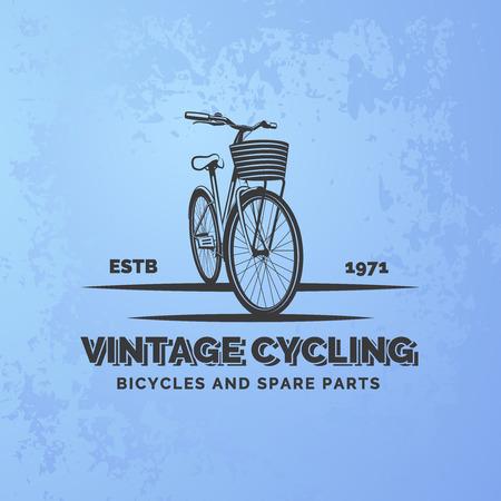 Vintage emblème de vélo de route sur bleu grunge. réparation de vélos et de service.