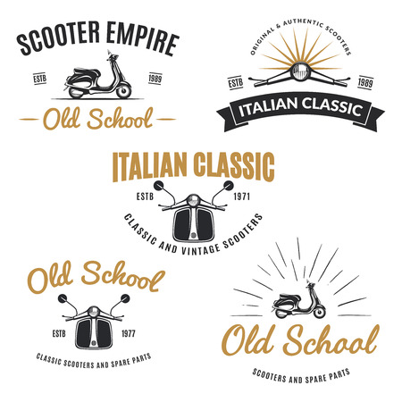 Set of classic scooter emblems, icons and badges. Urban, street scooter illustrations and graphics. Isolated scooter front and side view. Иллюстрация