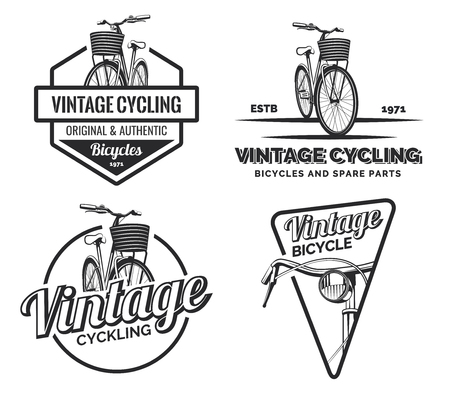 handcrafted: Set of vintage road bicycle labels, emblems, badges isolated on white background. Handcrafted bicycle repair, service and classic bicycle club design elements. Isolated vintage bicycle side view.