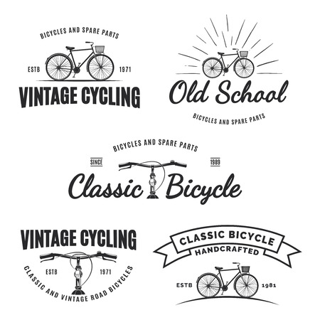 Set of vintage road bicycle labels, emblems, badges isolated on white background. Handcrafted bicycle repair, service and classic bicycle club design elements. Isolated vintage bicycle side view.