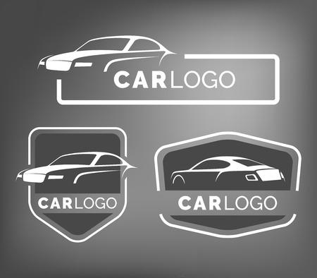 Zestaw nowoczesnych samochodowych emblematów, odznak i ikon. Nowoczesny samochód sportowy sylwetka szablon na serwis samochodowy, serwis opon oraz myjnia samochodowa. Ilustracje wektorowe