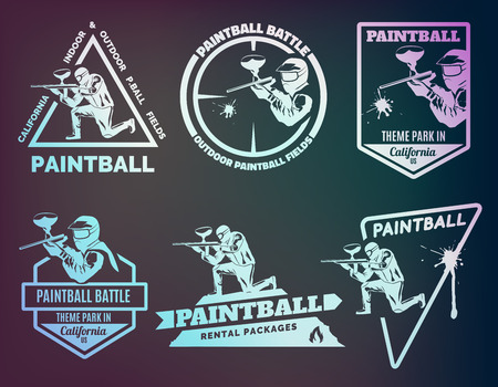 weapons: Set of monochrome paintball emblems and icons. Indoor and outdoor paintball club elements. Man with gun and musk. Paintball rental equipment. Illustration