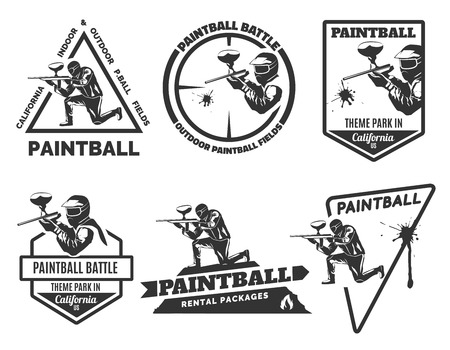 Set of monochrome paintball emblems and icons. Indoor and outdoor paintball club elements. Man with gun and musk. Paintball rental equipment. Иллюстрация