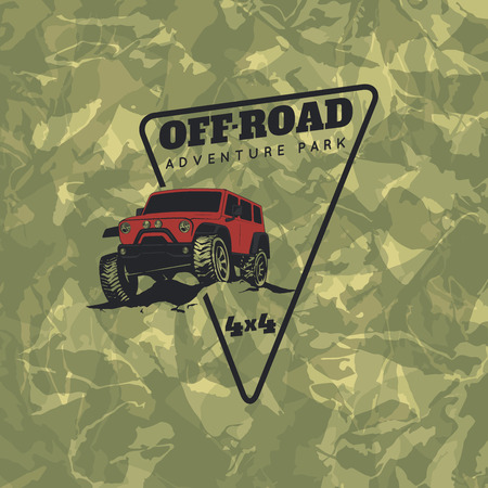 Classic off-road suv car emblem with green camouflage background. Rock crawler car, off-road suv adventure and car club design elements. Stock Illustratie