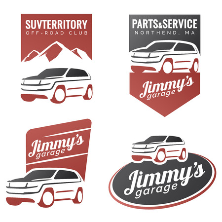 Set of suv car labels, emblems, badges isolated on white background. Off-road suv adventure emblems, car club design elements. Isolated modern suv front and side view.  イラスト・ベクター素材