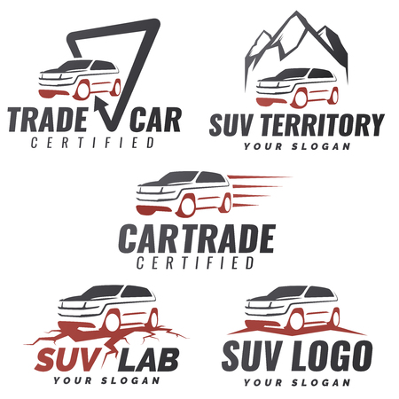 transport icon: Set of SUV car service templates. Automotive repair and service theme concept. Rental Car Template Design. Isolated modern suv front and side view.