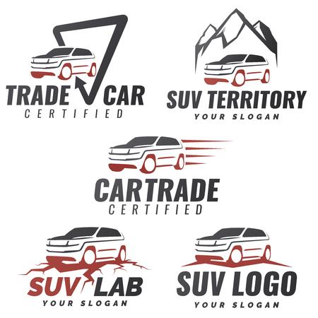 Set von SUV Auto-Service-Vorlagen. Kfz-Reparatur und Service-Thema-Konzept. Mietwagen Template Design. Isolierte modernen SUV Vorder- und Seitenansicht.