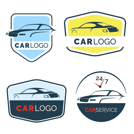 Set of modern car emblems, badges and icons. Modern sports car silhouette design template.