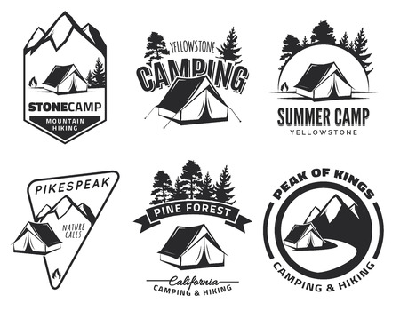 Set of vintage camping and outdoor adventure emblems, and badges. Tent in forest or mountains. Camping equipment.