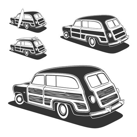 carreta madera: tabla de surf retro coche vagón Woodie aislado sobre fondo blanco. ilustración.