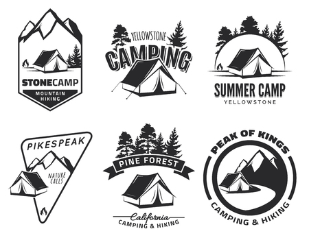 Set of vintage camping and outdoor adventure emblems, and badges. Tent in forest or mountains. Camping equipment. Stock Illustratie