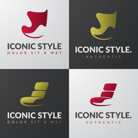 Set van meubilair templates. Het moderne leunstoel design concepten. Lounge iconische stoel teken.