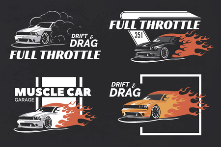 drift: Set of muscle , badges and emblems on dark grunge background. Service car repair, car restoration and car club design elements. T-shirt design. American muscle car for printing.