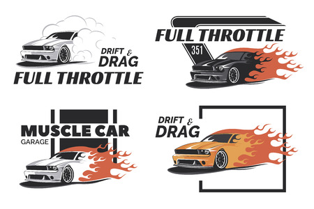 drift: Set of muscle , badges and emblems isolated on white background. Service car repair, car restoration and car club design elements. T-shirt design. American muscle car for printing.