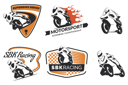 Set of racing motorcycle , badges and icons. Motorcycle repair, service and motorcycle club design elements. Superbike racing team .